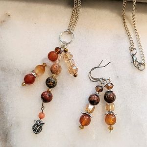Jewelry - Handmade earrings with matching necklace.